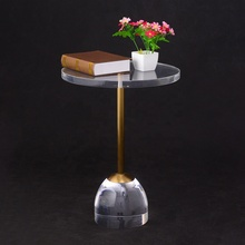 Customize high clear acrylic beside round <strong>table</strong> transparent plexiglss crystal side <strong>table</strong> with gold stainless