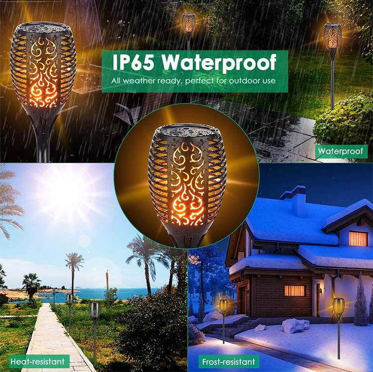 grape 96 leds Ip65 Garden Lamps Outdoor Solar Recharge Torch Light Landscape Led Flame Light