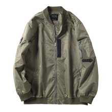 <strong>Men's</strong> plus size printed Bomber <strong>jacket</strong> loose army green short coat casual 100% nylon windbreaker
