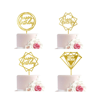Gold Happy Birthday Party Decorations, Happy Birthday Acrylic Cake Cupcake Topper for Birthday Cake Supplies Decorations