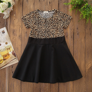 Fashion summer toddler girl short sleeve clothes leopard tops patchwork black skirt baby dresses