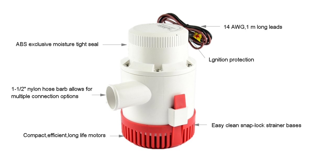 24V 3000GPH 3500GPH 4000GPH 4700GPH electric bilge pump