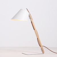 Nordic style metal base lamp shade reading light E27 wood table desk lamp
