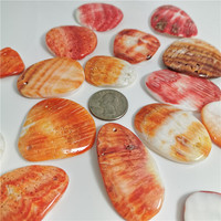 Mother of Pearl Natural Spiny Oyster Orange Shell Free Form 25-45 mm for american indian jewelry