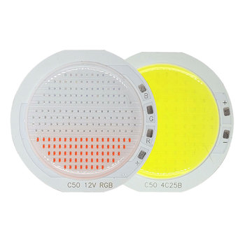 12V RGB COB LED Chip Light Source for Outdoor Decoration Lighting Car Lights 50mm Round COB 15W 50W Blue Red Green White Color