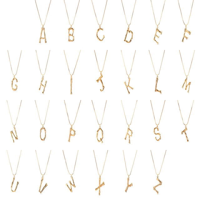 Amazon Best Selling Gold Plated Alphabet 26 Bamboo Letter Pendant Necklaces Adjustable Capital Initial Letter Charm Necklaces