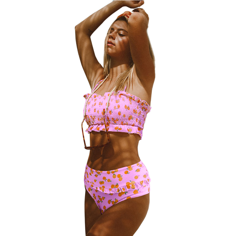 Women Floral Print Crop Top High Waist Bikini Set Swimwear