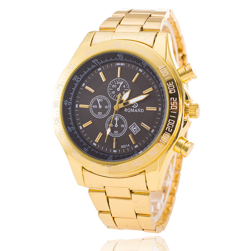 Cross-border Explosion Top Brand Luxury Gold-plated Stainless Steel Business <strong>3</strong> Eyes Watches Male Waterproof Watches