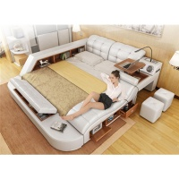 Hot Selling Multifunctional Massage Genuine Leather Bed with Speaker