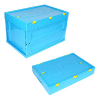 Collapsible storage container heavy duty plastic folding box with lids