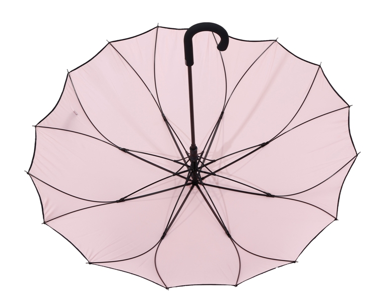 Automatic J shaped handle 23 inch stick umbrella with logo prints for ladies