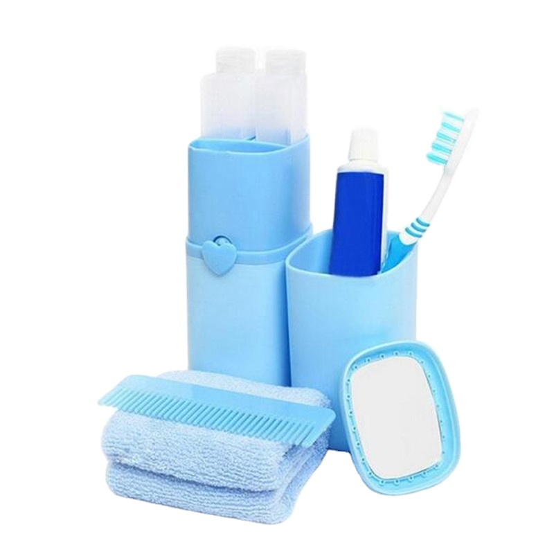 New Portable 5pcs/set Travel Wash Kit Toothbrush Toothpaste Towel Storage Wash Bag Business Travel Essential Supplies <strong>H107</strong>