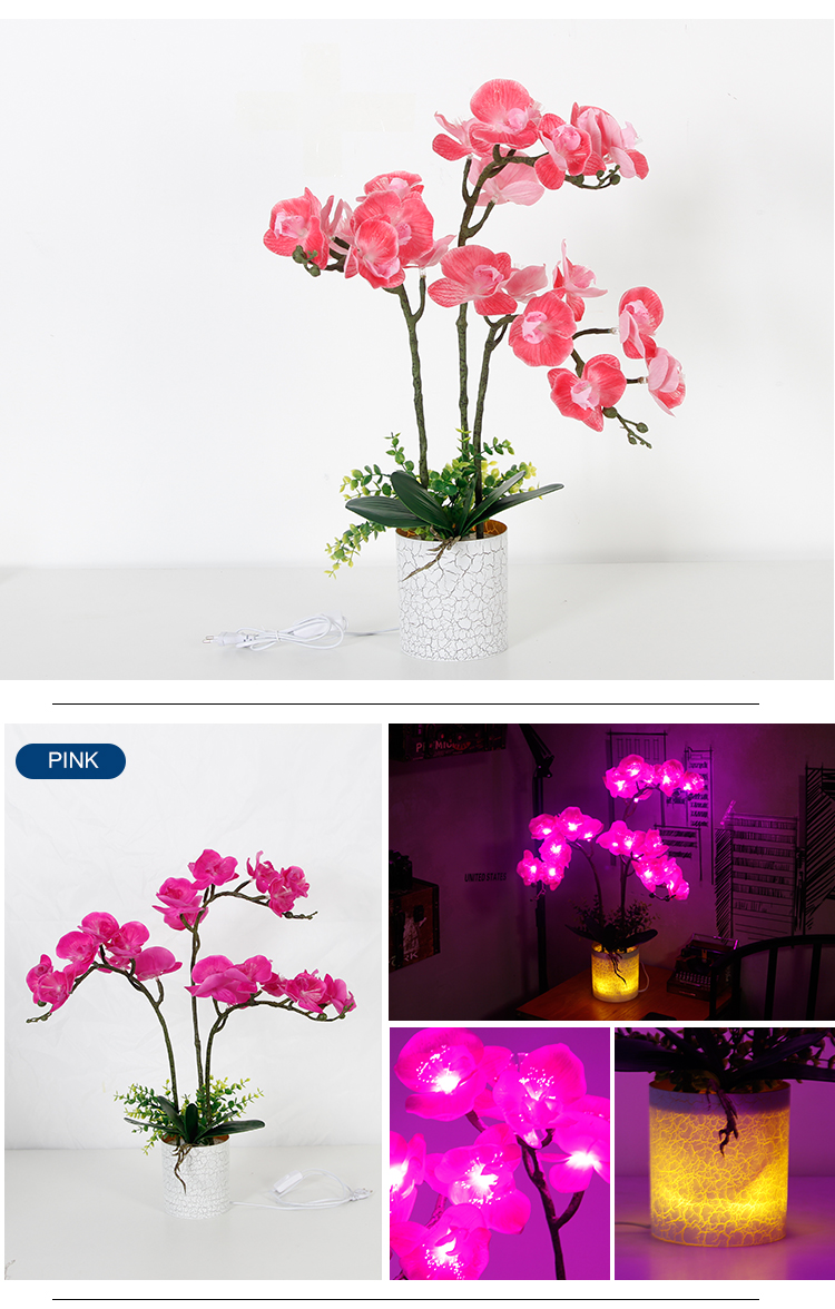 Living Room   Atmosphere Butterfly Orchid  Artificial Flower Lighting