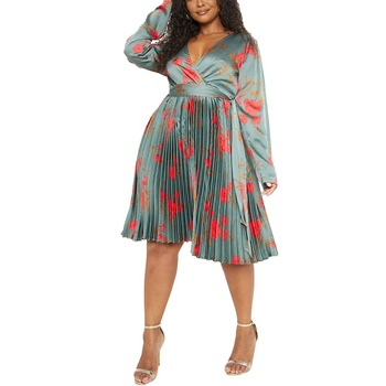 Hot Sale Lady Clothing Elegant design Plus Size V Neck Long sleeve Floral print Pleated Midi Casual Satin Dresses