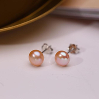 Pearl earrings female simple small fresh and fresh natural round freshwater pearl earrings fashion