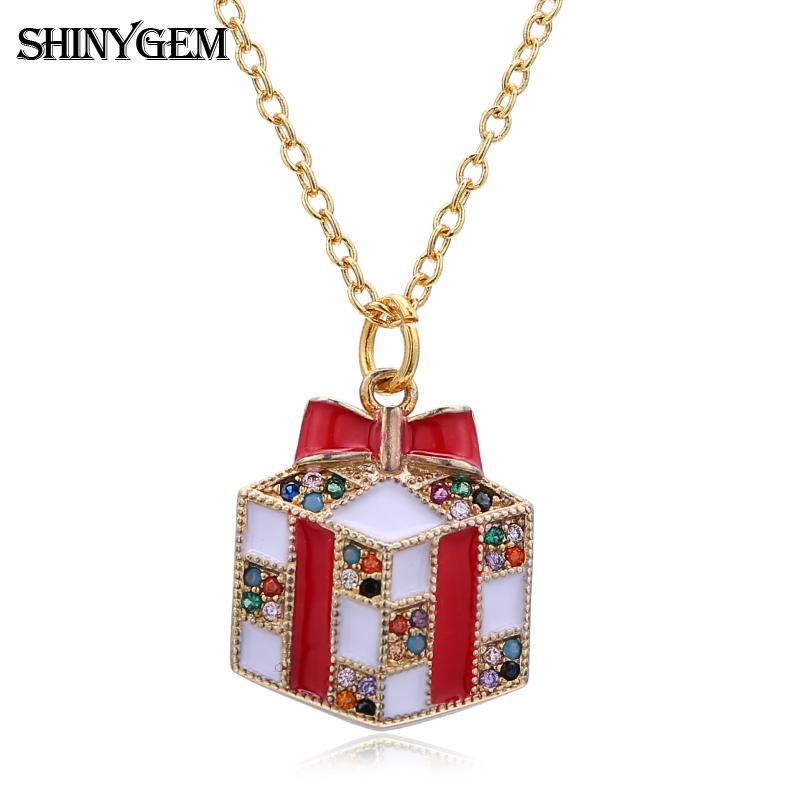 fashion gold plated custom long chain cz micro pave merry christmas tree charms necklace for women gifts jewelry