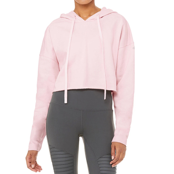 Stylish drawstring hot pink crop top hoodie women raw hem hoodie cut and sew custom design