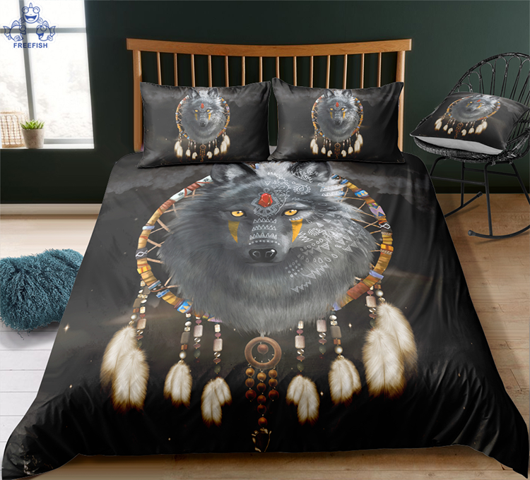 3D Wolf Dream Catcher Quilt Cover Set Bedding Duvet Cover Single//Queen//King 2