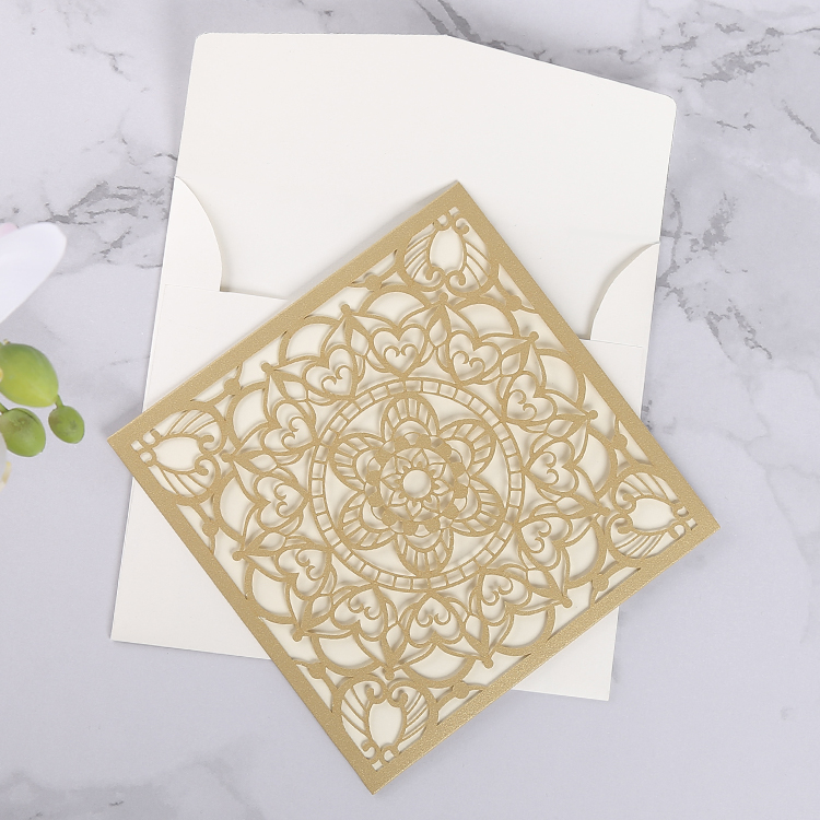 Laser cut invitations wholesale , elegant gold blank cheap custom wedding invitation <strong>cards</strong>