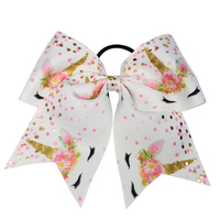 "Large Cheer Bows 7"" Bulk Hair Bow Accessories with Ponytail Holder for Girls High School College Cheerleading"
