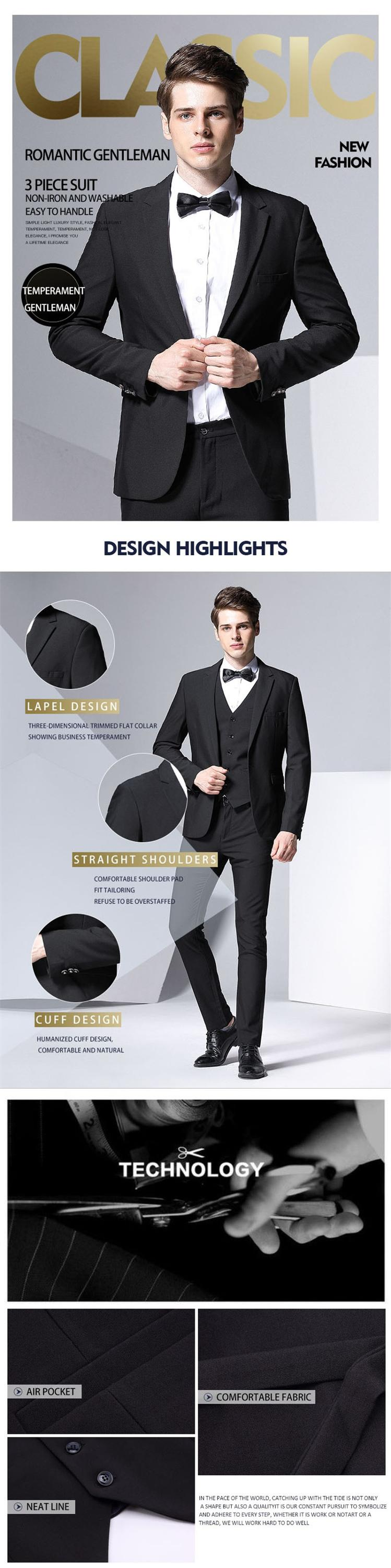 Fashionable African Slim Fit 3 Pieces Men's Bridal Male King Size S To 7XL Blazer Waistcoat Pants Bowties Groom Men Suit