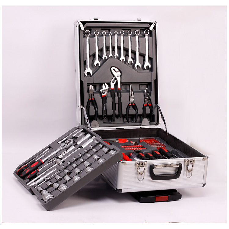 silver storage reinforce practical aluminum tool set box