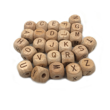 Wholesale 12mm Organic Beech Wood Cube Alphabet Letter Beads Wooden Beads for Teether DIY