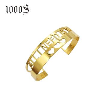 1000S Custom Engraved Heart Logo Friend High Polished Stainless Steel Cuff Bracelet High End Gold Cuff