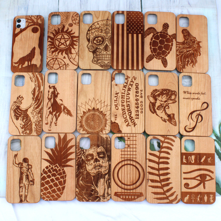 2020 New TPU Frame Wooden back Cover Case for iPhone Custom Design Pattern Bamboo Wood Phone Case for iPhone 11