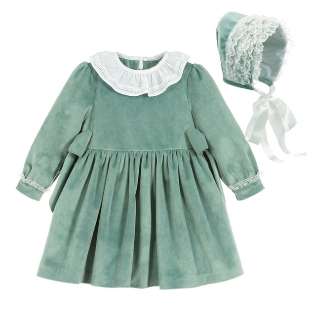 Girls Spanish Princess Dress Children Spain Dresses Baby Girl Gown 1-5 <strong>Y</strong> Hat Cotton Long Sleeve Green Velvet Dress For <strong>Spring</strong>