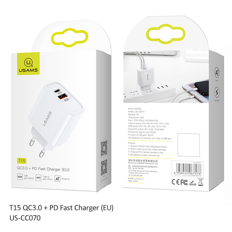 Usams T15 Dual Port PD Travel Charger 18W USB Fast Charger QC3.0 Quick wall Charger for IPhone X 8 8 Plus for Samsung S9