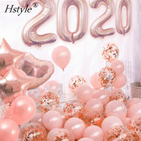 "Hot Sale 40"" Rose Number Foil Balloons Happy New Year Party Decorations 2020 for Wedding Anniversary Decor Latex Globos SET0255"