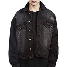 Wholesale high quality black oversize men denim jean jacket