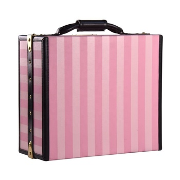 Handmade pink striped faux leather suitcase cardboard box suitcase for lady vintage cardboard suitcase storage box