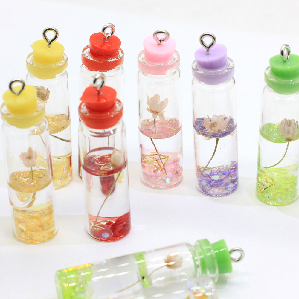 Assorted Flower Glass Bottle Charms Mini Glass Inner Lotus Decor Jar Necklace Jewelry Pendants Wedding Gift for Little Girl