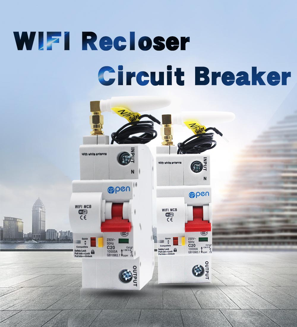 1p Wifi automatic Remote control mcb Smart circuit breaker with antenna signal better with overload and short circuit breaker