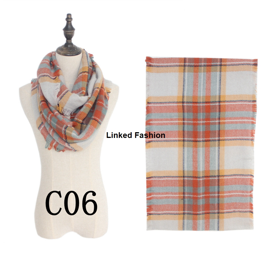 85cmX45CM Tartan plaid fringe fashionable blended <strong>cotton</strong> acrylic infinity scarf