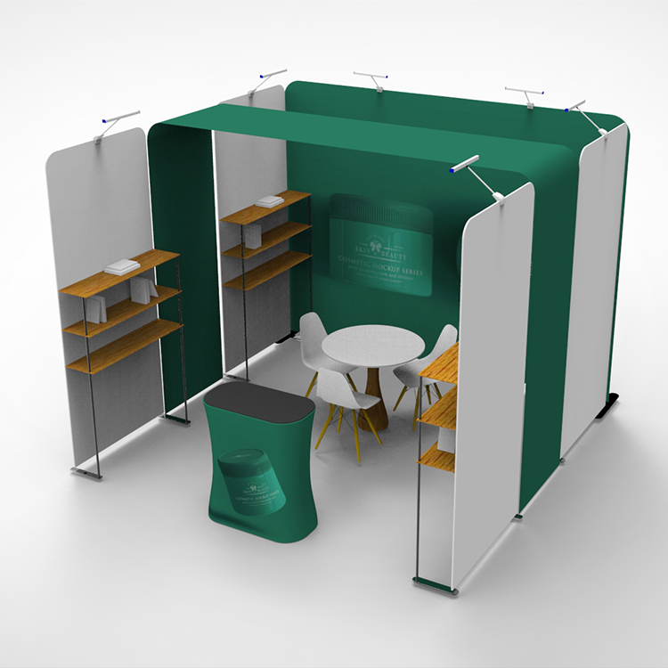 New design reusable 3x3 double printed exhibition booth with shelves for trade <strong>show</strong>