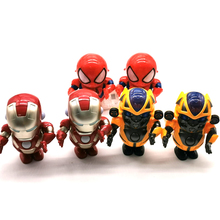 LED Music Electric Action Figures Super hero Movie Character Q Version Dancing Robot Toy