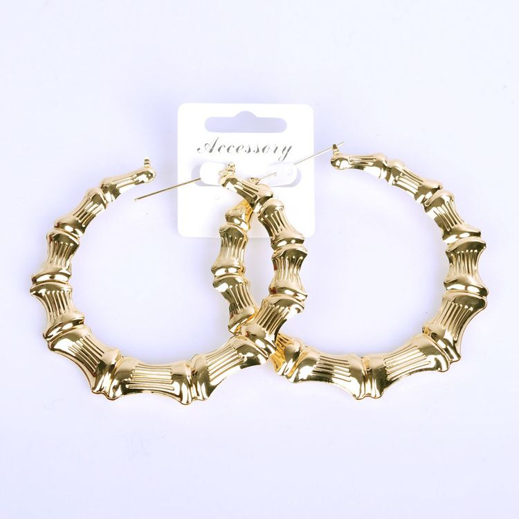 2020 New Women's Geometric Gold Plated Exaggerated Personality 100mm Diameter Large Bamboo Metal Hoop Earrings