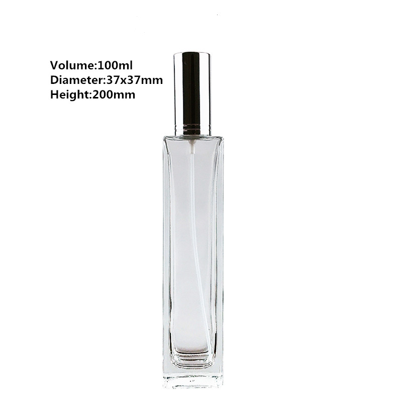 100ml Cuboid Shaped High Grade Crystal Glass Empty Bottle with Sprayer for Storing Scent Perfume