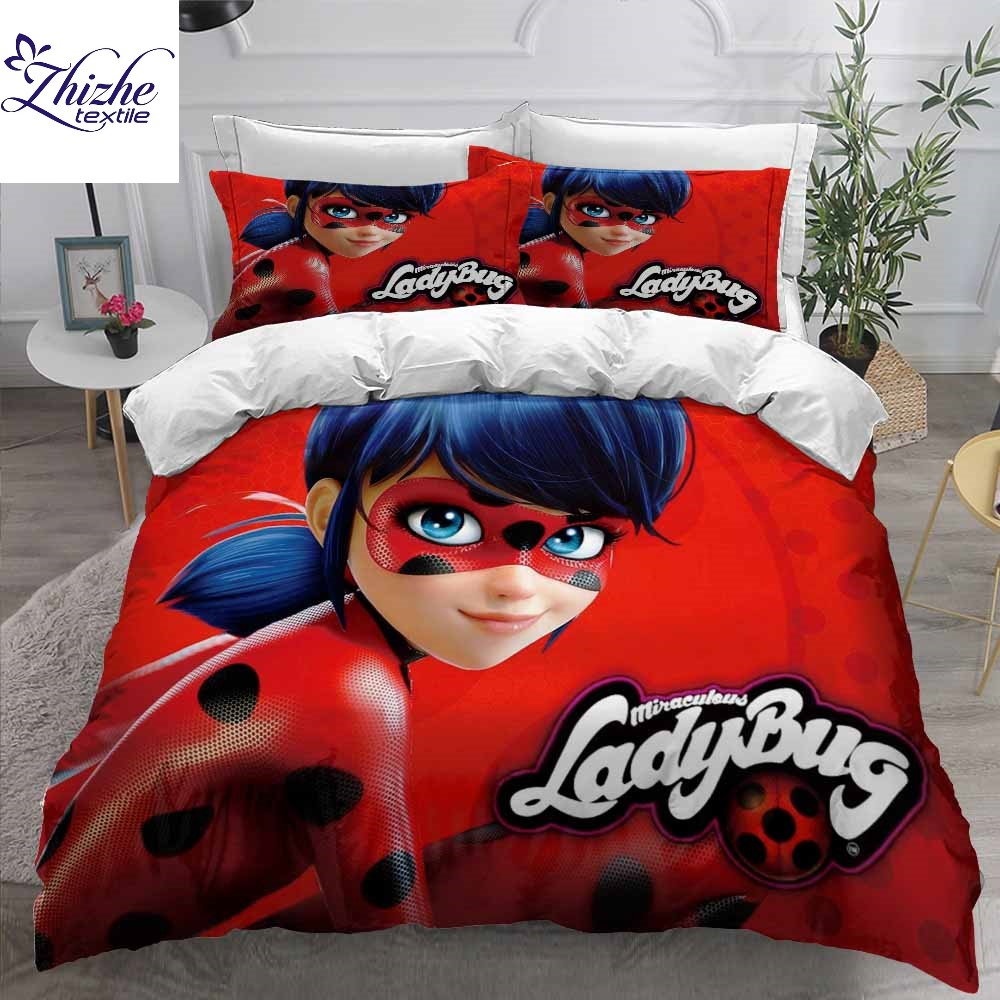 Cartoon style 3D Miraculous Ladybug print polyester duvet cover set