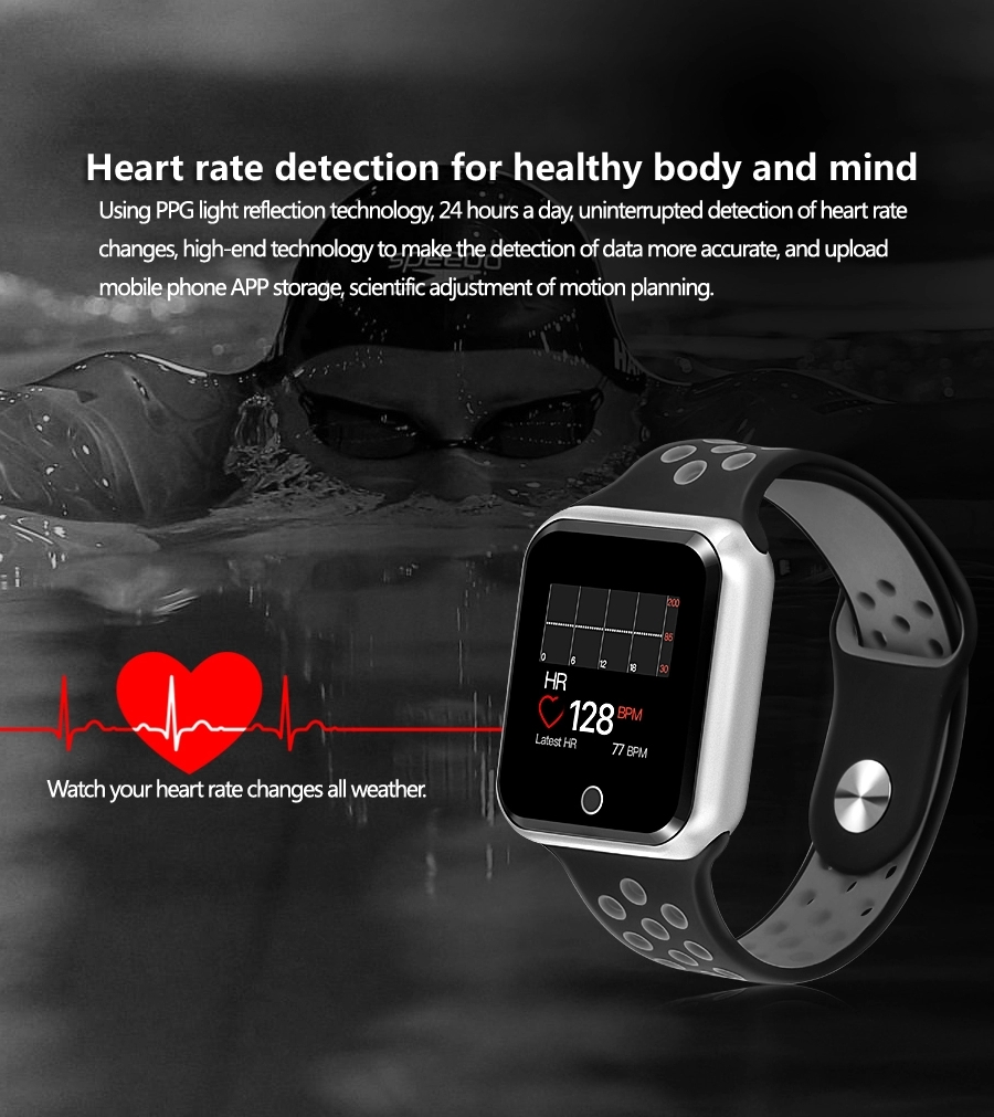 Caboren S226 smart watch ladies men's sports Bluetooth waterproof heart rate monitor compatible with Iphone IOS Android