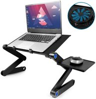Amazon Hot Selling Aluminum Foldable Black Laptop Stand with Big USB Fan