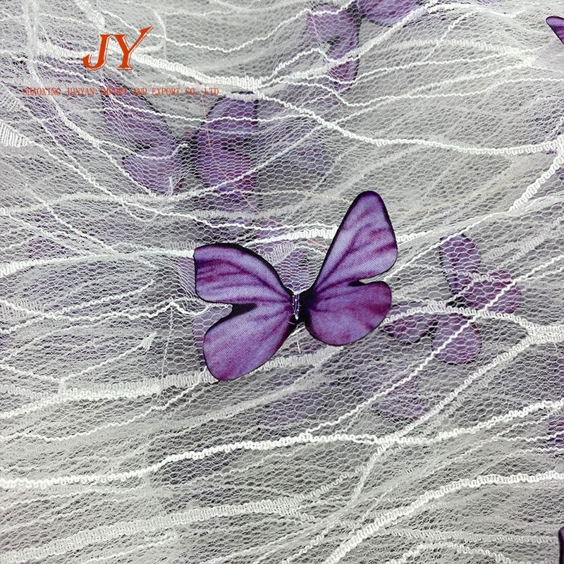 B202 hot sales  multicolorful butterfly dress french 3d mesh lace fabric embroidery for curtain