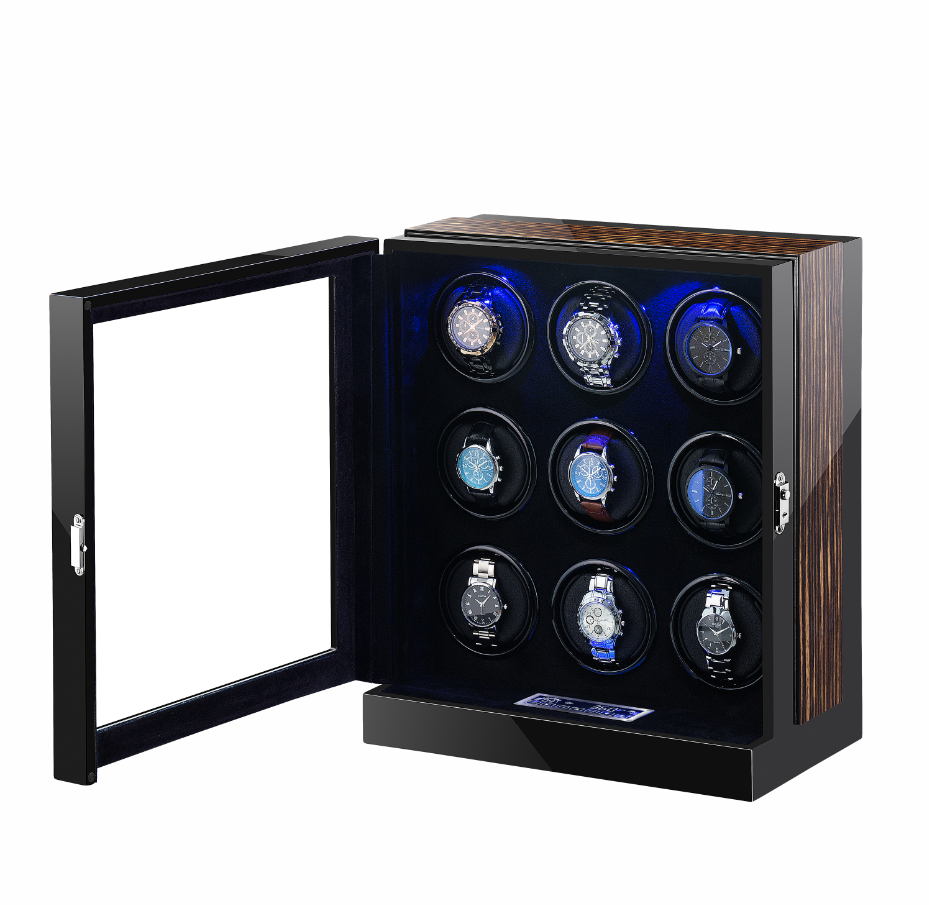 watch winder with quiet Japanese motor watch storage two LED lights touch screen operation 9 rotors for 9 watches mira la cuerda