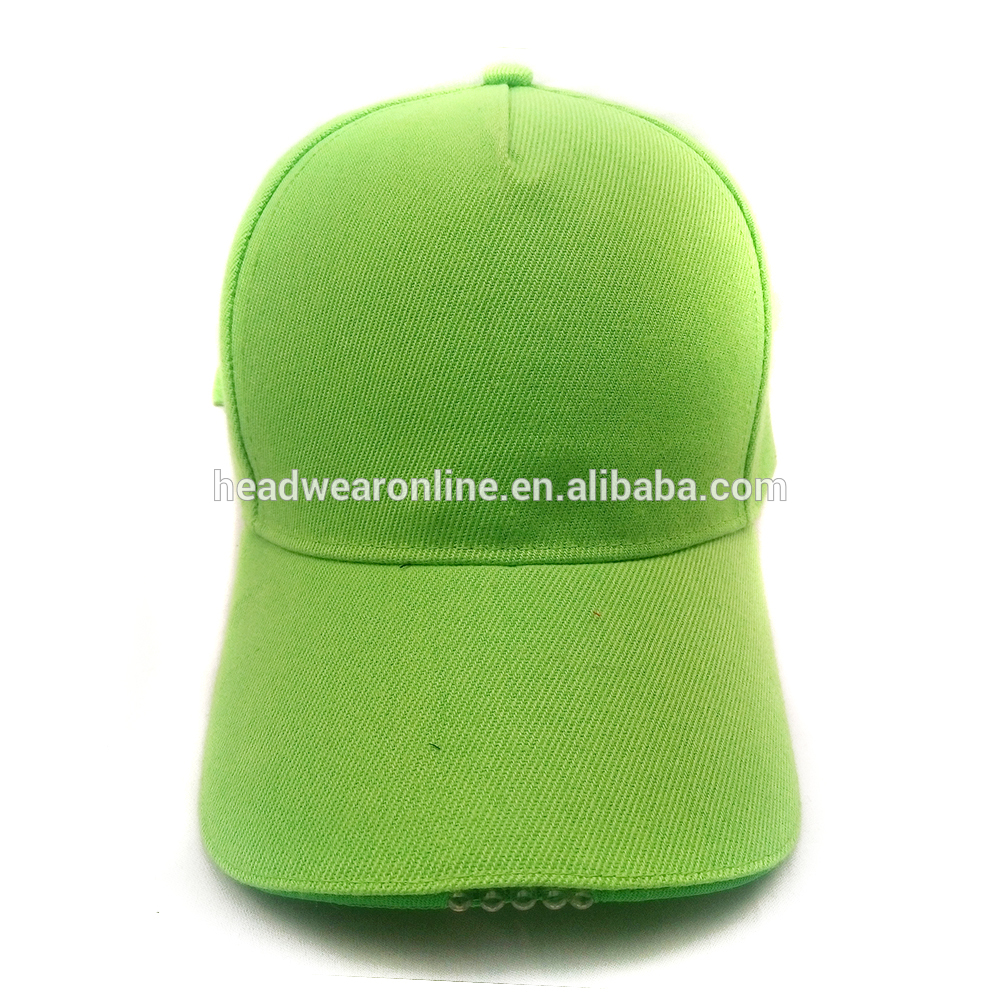 New 5 panel 100% Acrylic promotional baseball cap pure color led light cap