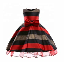 New design summer girls clothing <strong>dresses</strong> <strong>Girl's</strong> bow <strong>dress</strong> horizontal stripes girls' <strong>dresses</strong>