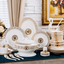 Bone china dinnerware set gold rim ceramic dishes plate set with gift package