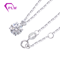 Woman Diamond Necklace Round Cut 6mm Synthetic DEF Moissanite Diamond 18K White Gold Pendant White Gold Necklace